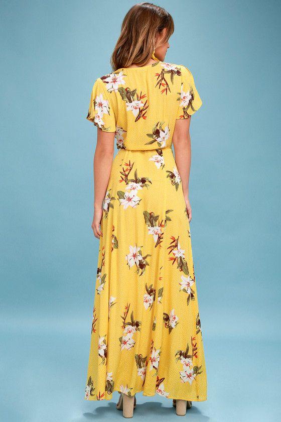 6dc251b7c9 Lulus | Heart of Marigold Yellow Tropical Print Wrap Maxi Dress | Size  X-Large | 100% Rayon