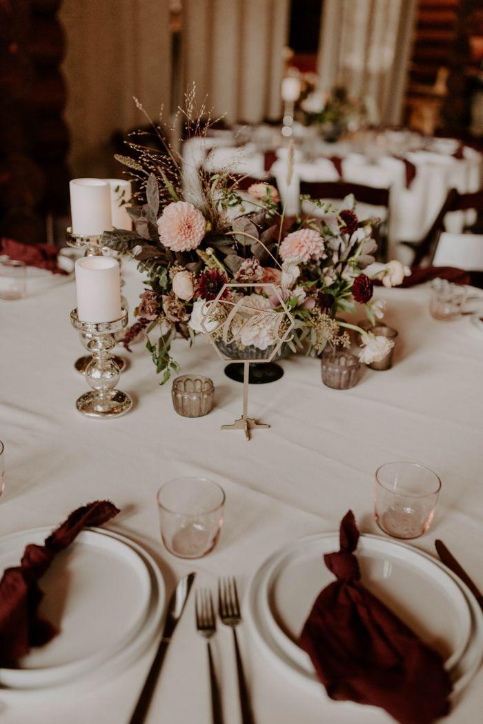 Cozy Romantic Mountain Wedding At Breckenridge Nordic Center Wedding Table Wedding Centerpieces Round Wedding Tables