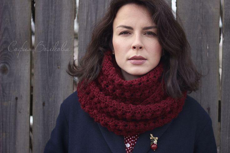 """Купить Шарф """"Вишня"""" - бордовый, шарф, вязаный шарф, шарф женский, теплый шарф"""