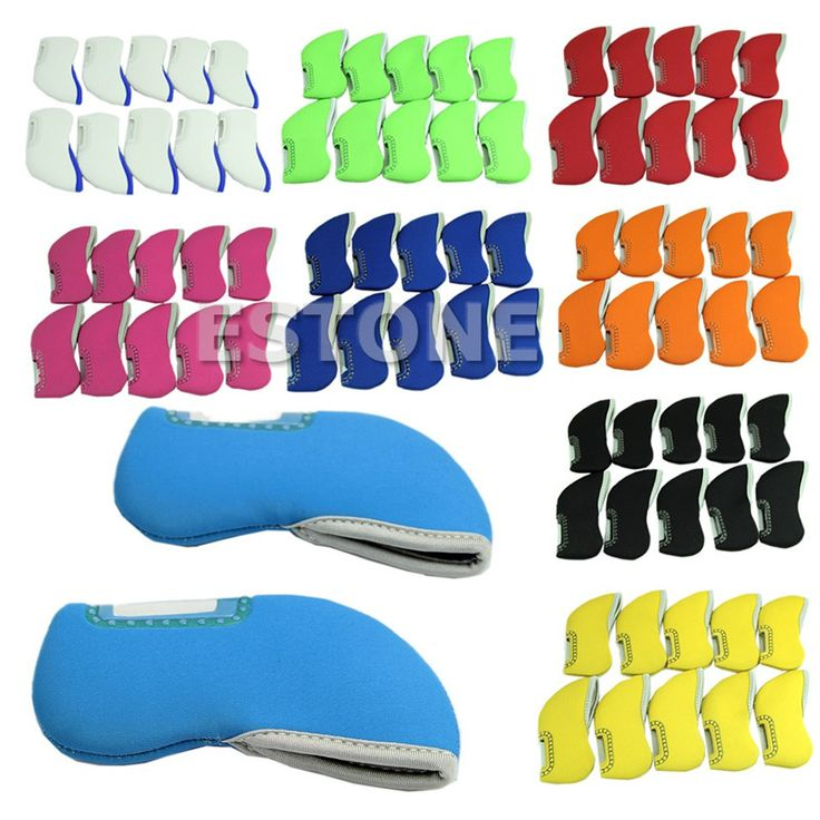 1set 10pcs Golf headcovers Iron club Head Covers Neoprene protection Case set Multicolor 6colors