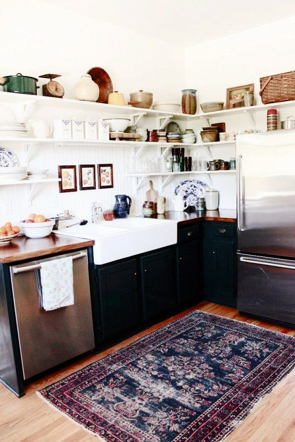 Trend Alert: Persian Rugs in the Kitchen via @domainehome  the blue accents are everything