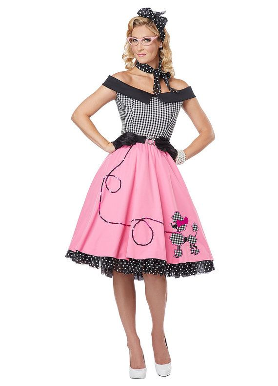 Mesdames Rock et Roll 1950 graisse robe Pink Lady costume FIT