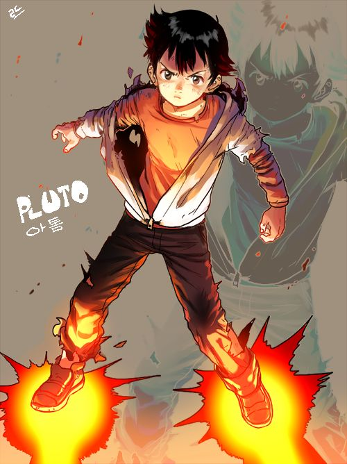 Safebooru - Anime picture search engine! - 1boy android atom (tetsuwan atom) pluto (manga) rocket boots rocket shoes rod4817 solo tetsuwan atom torn clothes torn shirt zoom layer | 1406754