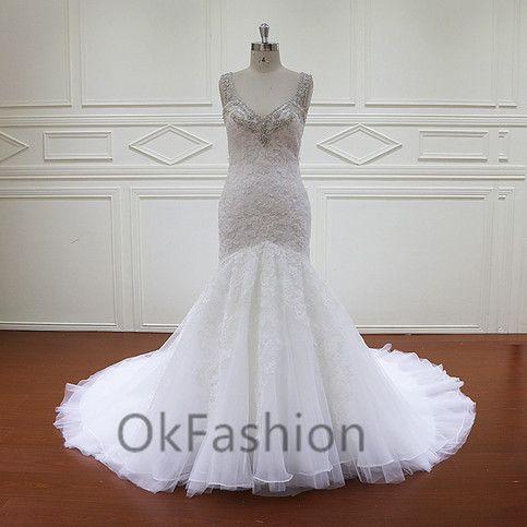 Luxury White/Ivory V Neck Lace Mermaid Wedding Dress Bridal Gown
