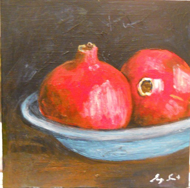 """Pomegranates in bowl"" Acrylics on wood"