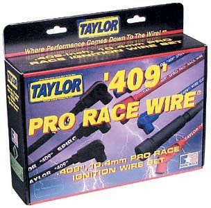 Taylor Cable 79253 409 Pro-Race Spiro-Wound Core Spark Plug Wire Set Fiberglass braid provides extra pull strength. Includes vibration proof double spring locking terminals. Red silicone 8mm wire with 135-degree plug boots. Provides heat protection up to 600-degrees F and 102,000-volts dielectric strength. Fits 8-cylinder engines.  #taylor #Automotive_Parts_and_Accessories