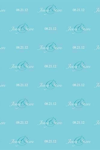 C0018 Custom Wedding Step And Repeat Tiffany Blue Background (Color/Font Options Available)