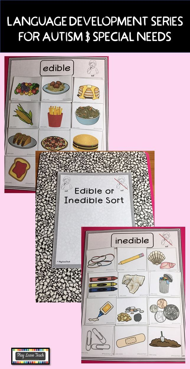 Sort 24 pictures onto 2 mats of things you can eat and things you should not eat (non-food). Great for task boxes and independent work for children on the autism spectrum; early childhood; ESL; or speech and language therapy.