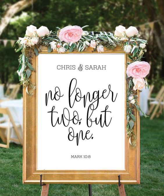 No longer two, but one - Mark 10:8 (Customize this print) Marriage is a gift from God that enables a man and a woman to unite intimately into a whole humanity - the one-flesh union - to preserve the life of humanity. Once a couple is married, they have been joined together by God Himself, and the union is meant to be for life. This Mark 10:8 bible verse print is a beautiful personalized wedding gift or anniversary present. #personalizedweddingprint