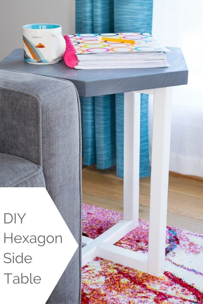Add a modern touch to your living room with this DIY hexagon side table. FREE woodworking plans at The Handyman's Daughter! | easy woodworking project | scrap wood project | hexagon table | two toned wood | easy DIY side table