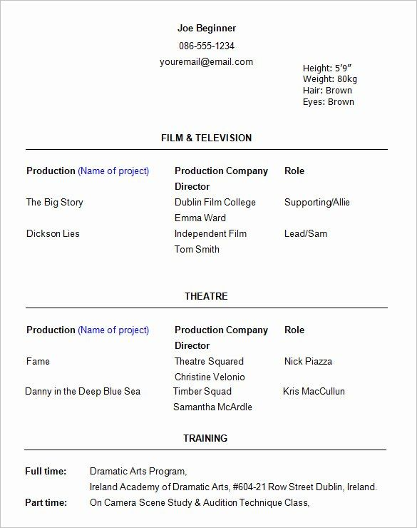 25 Acting Resume Template For Beginners In 2020 Acting Resume