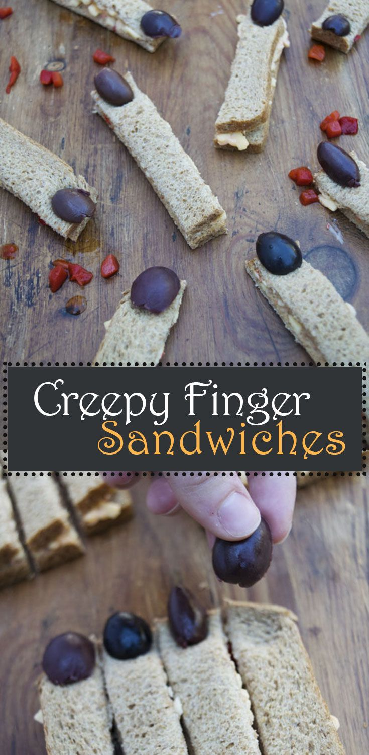 Enjoy these creepy finger sandwiches stuffed with pimento cheese appetizer! These pimento cheese sandwiches are an easy Halloween recipe for your Halloween party!
