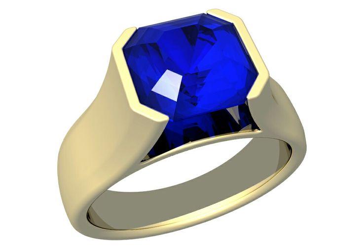 Blue sapphire asscher ring
