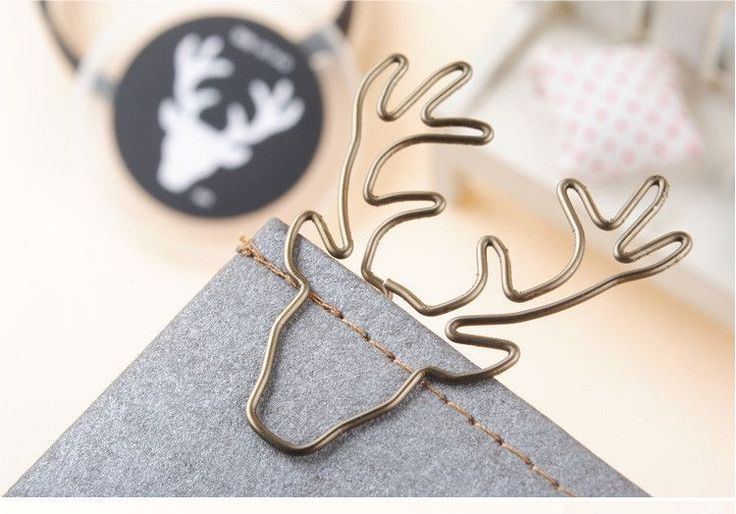 8pcs/box paper clips retro metal book clip mark antlers cute paper clips for office stationary clips reading decoration for girl
