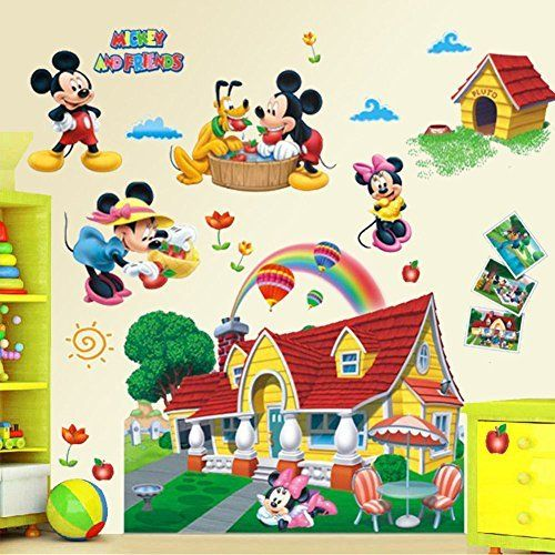 Mickey Mouse Clubhouse 3D Wall Decals Sticker Kids Nursery Decor Mural Vinyl Art  #Clubhouse #Decals #Décor #Kid's #Mickey #MOUSE #Mural #Nursery #RusticWallClock #Sticker #Vinyl #Wall The Rustic Clock