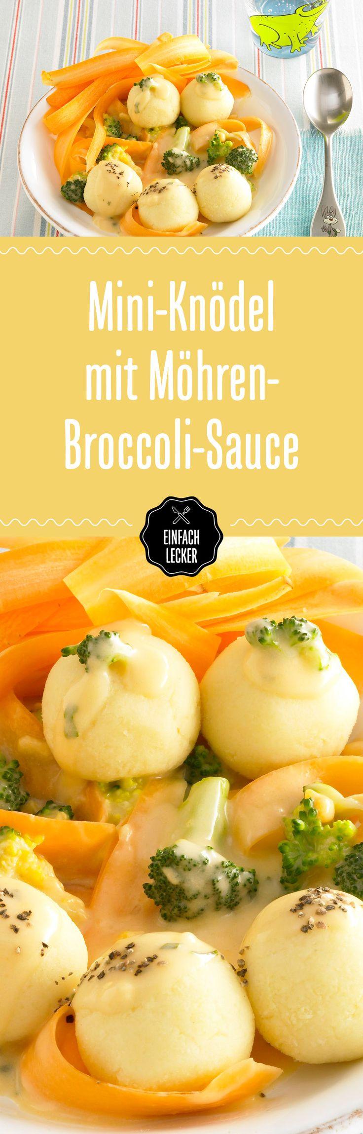 Von diesem Gericht sind wir hin und VEG: köstliche Mini-Knödel mit einer cremigen Karotten-Brokkoli-Sauce. #yummy