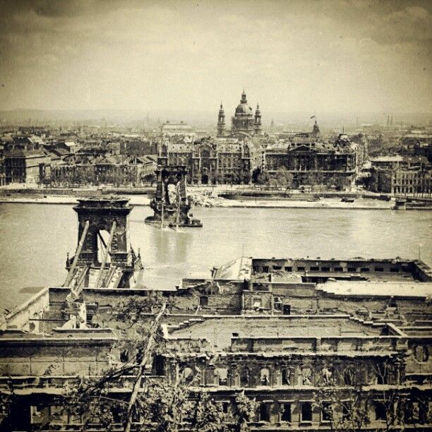 The destroyed Chain Bridge after the Siege of Budapest, 1945 via http://www.budapestguide.org