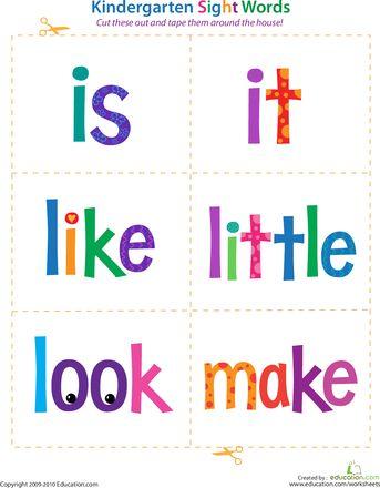 Kindergarten Sight Words: Is to Make