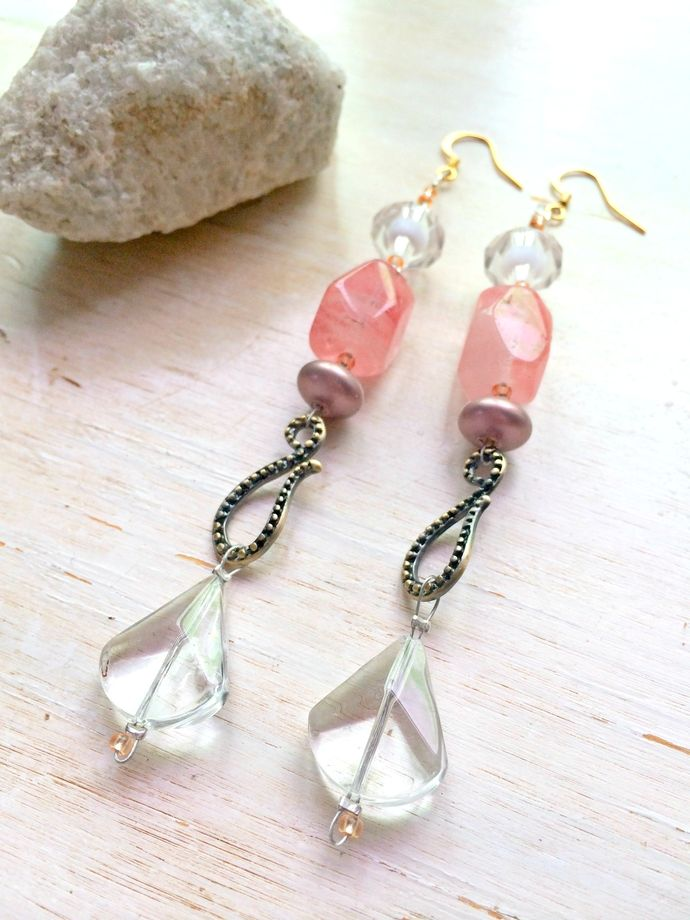 Statement LONG Dangle Earrings - Cherry Quartz Glass Nuggets , Glass Crystals