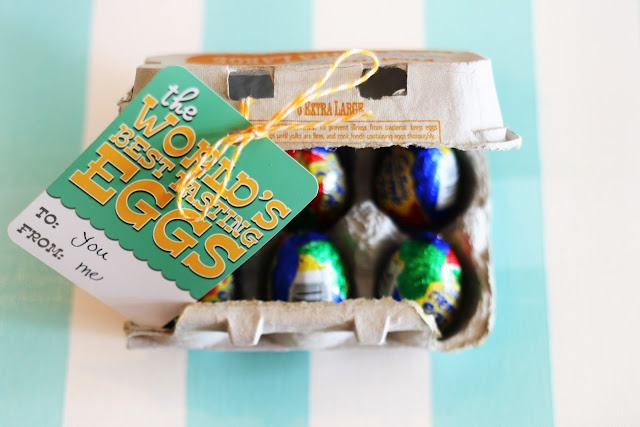 For Easter: Free printable - The World's Best Tasting Eggs! Using a half dozen egg carton, replace the blah eggs with 6 yummy eggs. Tie your tag on with some twine and it's ready to go.