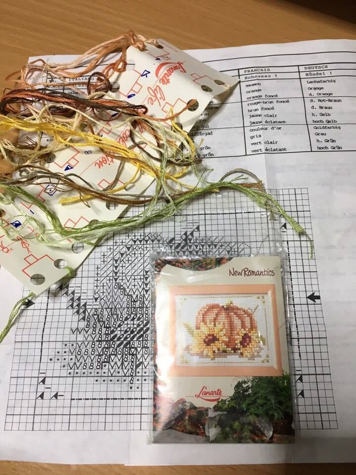 "Autumn - Used cross stitch kit by Lanarte, The New Romantics collectoin. Design size is 3¼"" x 2 ¼"" /8 x 6 cm. 