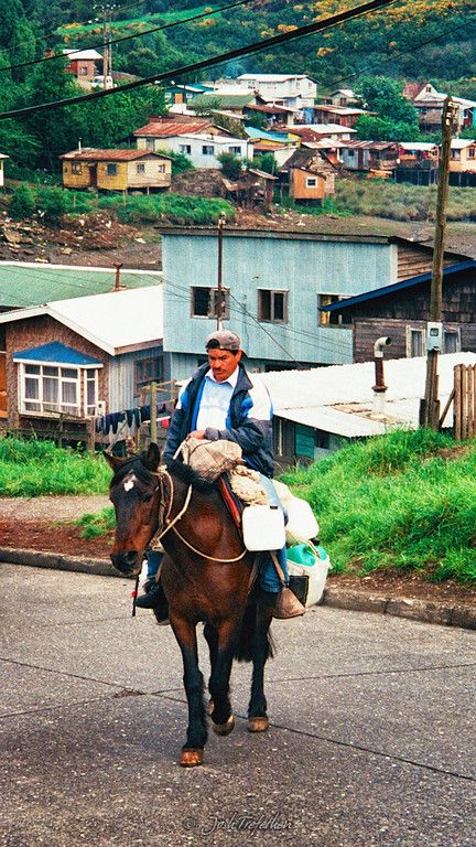 Chilean dairy farmer delivering his products on the island of Chiloe, Chile   Josh Trefethen Photography