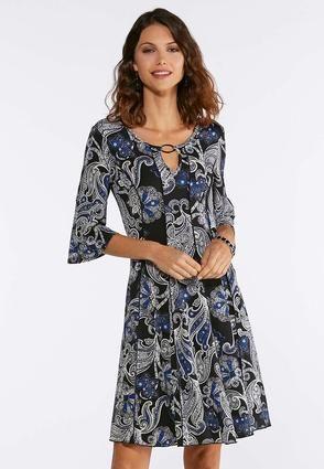 Plus Size Blue Puff Floral Dress A- Line   Amp   Swing Cato Fashions ... 8a45b633e