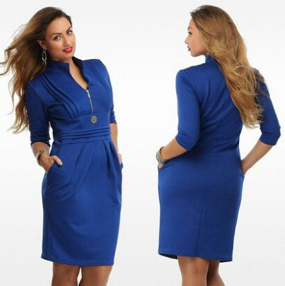 2015 plus size women clothing 6xl blue plus size dress straight with zipper knee high casual work dresses 5XL 6XL