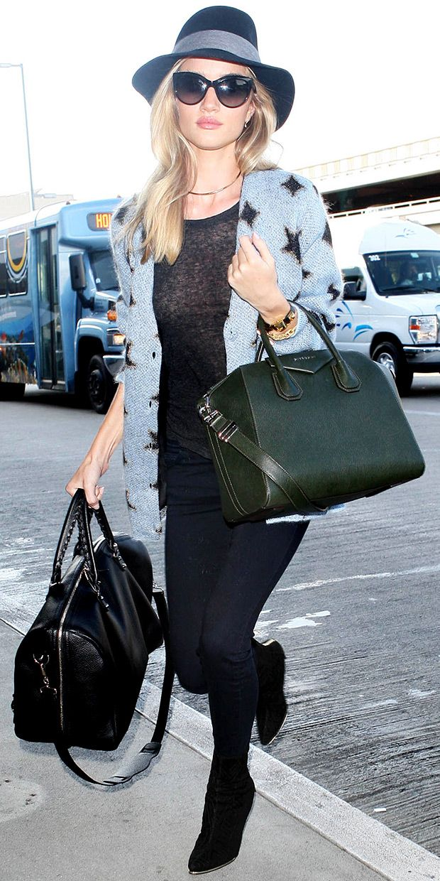 Rosie Huntington Whiteley Arrives At Lax We Love Her Airport Style Especially Her Ysl Star