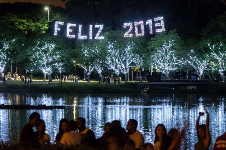 Personas miran la iluminación en los más de 200 árboles del parque Ibirapuera en Sao Paulo (Brasil), decorados con 1 millón der luces LED hasta el 6 de enero. (AFP/VANGUARDIA LIBERAL)