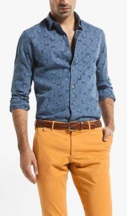 Camisa vaquera estampada Massimo Dutti. 39,95€
