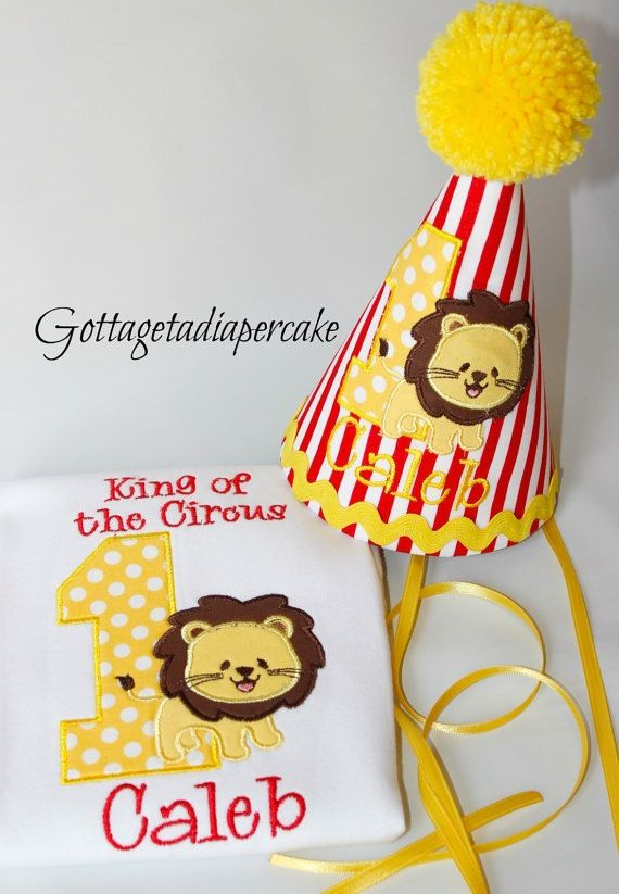Carnival theme 1st birthday party! Lion Smash cake outfit!