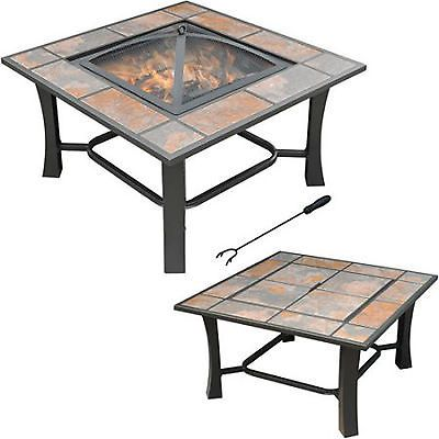 Patio Fire Pit Outdoor Backyard Deck Square Tile Top Convertible Coffee Table Convertible