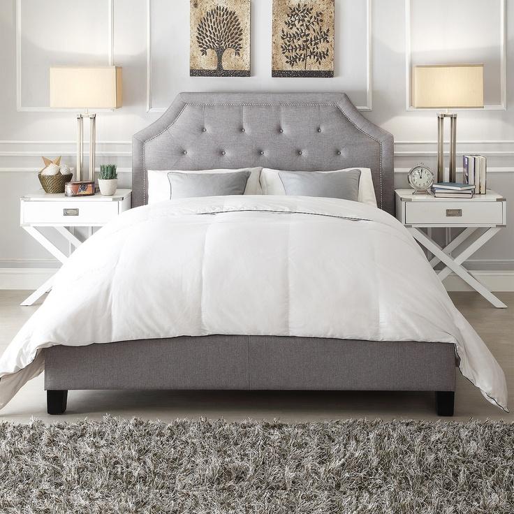 Esmeral Grey Linen Arched Bridge Top Bed | Overstock.com