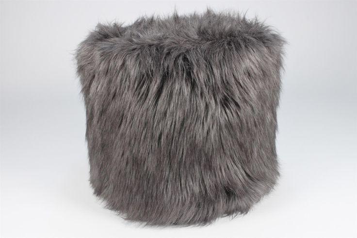Dreamweavers - Faux Lamb Cylinder Pillow - Gray