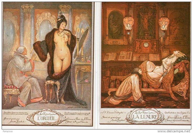 """Lot 5 CPM """"Les Sept Péchés Capitaux """" André LAMBERT. Luxure, Orgueil, gourmandise, envie, avarice. Femmes nues - Delcampe.net"""