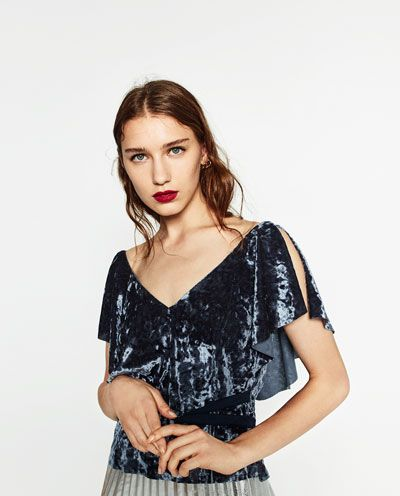 Image 6 of FRILLED VELVET TOP from Zara