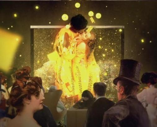 키스(1907-1908), 구스타프 클림트 Gustav Klimt(1862-1918)의 패러디작. LG. 클림트 그림 속 커플이 실제 존재했더라면 이러한 모습이었을까. 좀 더 현실적인 커플을 기대했었는데. 마치 신들의 키스처럼 보인다. 3DTV와 명화를 절묘히 조화시킨 광고. 기발하다. 실제로 명화를 3D로 볼 수 있다면 어떨까. 그 감동이 3배쯤 늘어나려나.