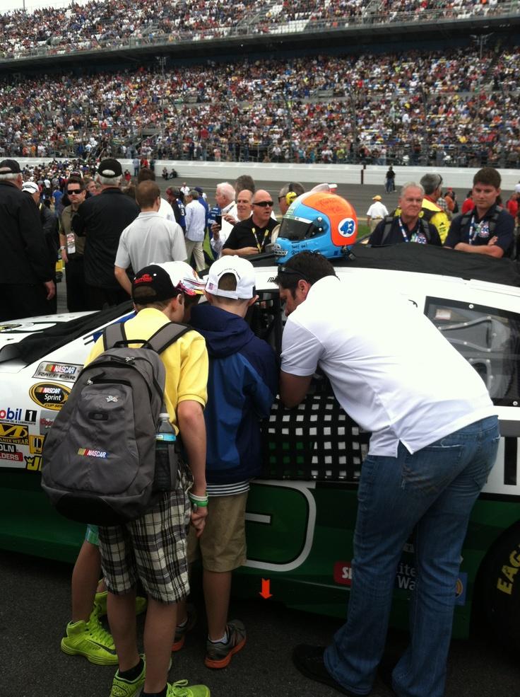 David showing the kids of Newtown, CT the car at the #Daytona500.
