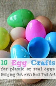 Using real and plastic eggs for some fun crafts.