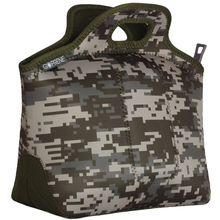 Neoprene Lunch Bag Insulated Lunch Tote With Utensil Pocket | LARGE | Digital Camo | 13 x 14 x 6.5 inches | By GOPRENE