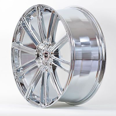 4 GWG Wheels 22 inch Chrome FLOW Rims fits 5X112 MERCEDES CL-CLASS STAGGERED WID