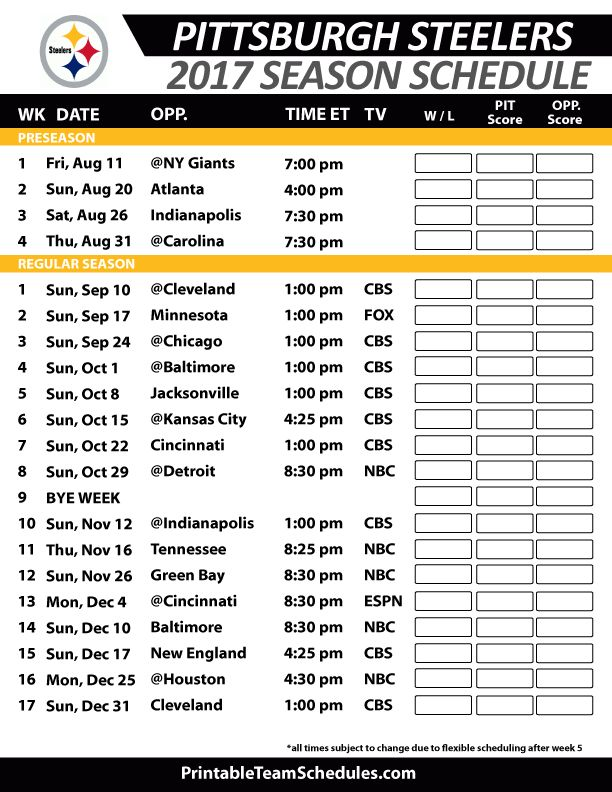 2017 Pittsburgh Steelers Printable Schedule w/Preseason Dates and Times
