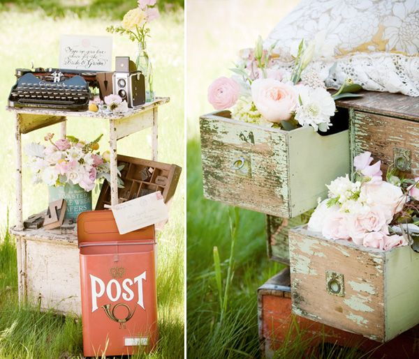 type writer as a fun way for the guests to leave love notes for the bride + groom. The guests place them into our vintage mailbox and the notes are mailed to the couple after the wedding.