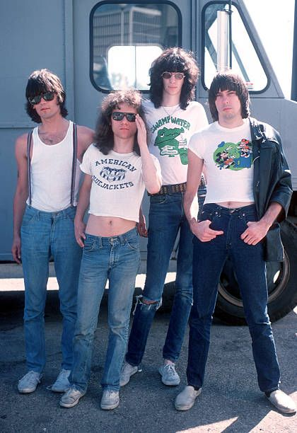 Dee Dee Ramone Tommy Ramone Joey Ramone and Johnny Ramone of the rock and roll band 'The Ramones' pose for a portrait holding letters that spell out...