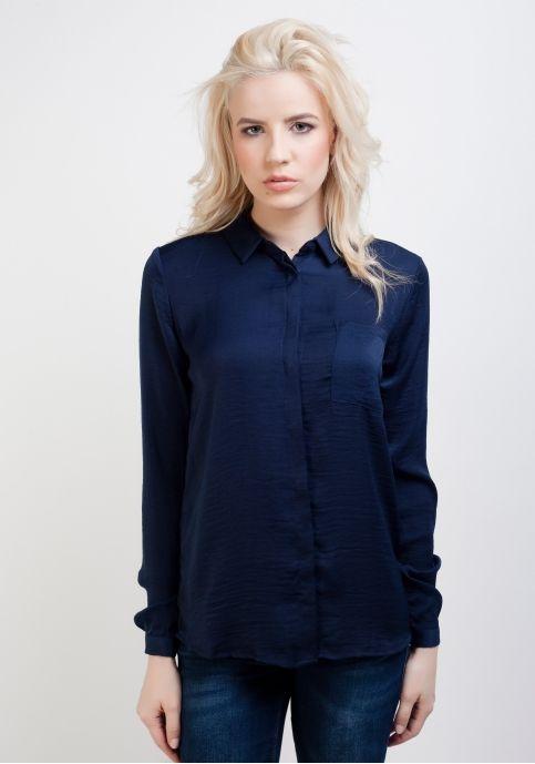 Vila, cămașă casual cu buzunar, bleumarin