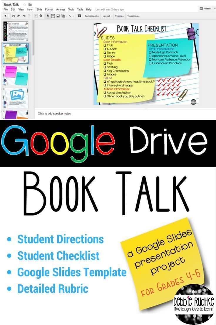 This Google Drive Book Talk Project allows students to create a book report in a digital format and allows students to practice 21st century skills in authentic ways. Students can practice important digital skills while having fun creating a presentation