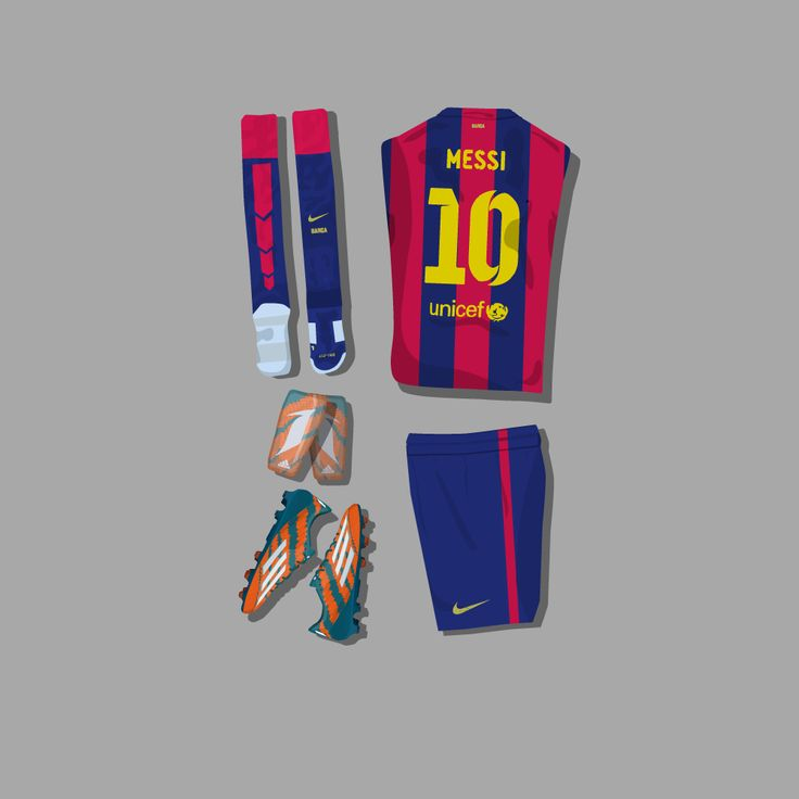 "Lionel Messi's kit illustrated and organised into a grid. Printed on a high quality canvas (12""x12"") using pigment inks."