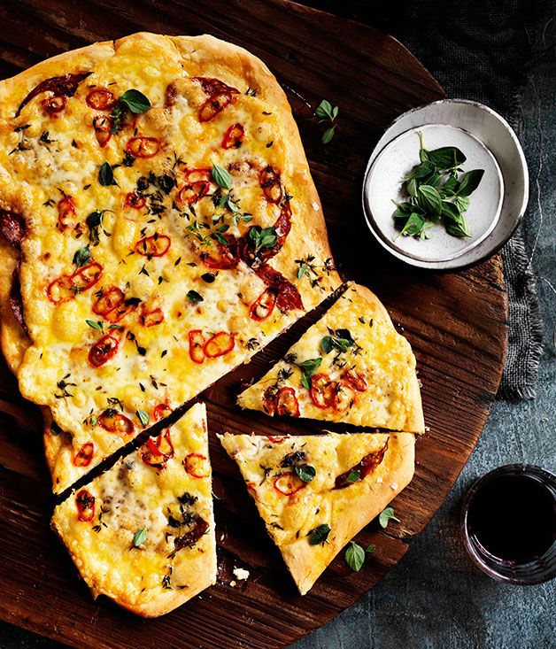 Australian Gourmet Traveller recipe for Four-cheese and sopressa pizza with chilli