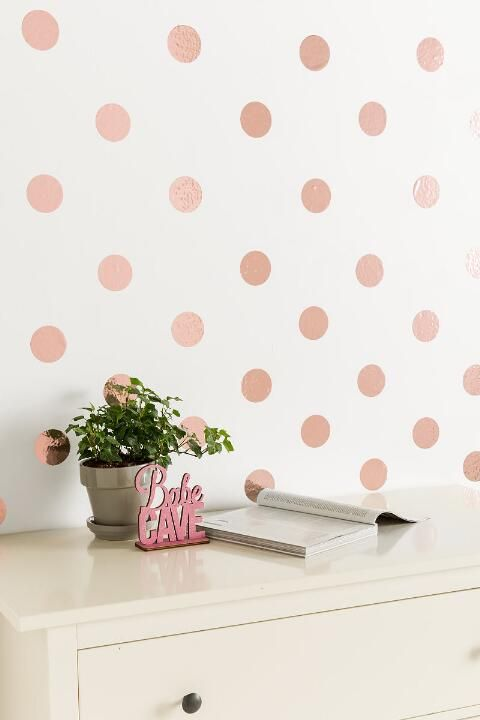Rose Gold Confetti Dots Wall Art-  gift-cl